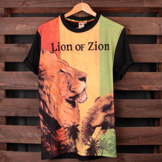 Tričko Rasta Lion of Zion | fullprint