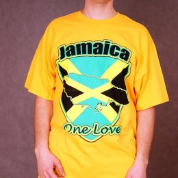 T-shirt Jamaica - One Love - žlté